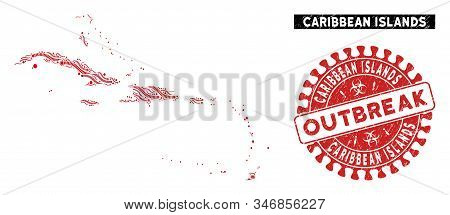 Outbreak Collage Caribbean Islands Map And Red Distressed Stamp Seal With Outbreak Text. Caribbean I