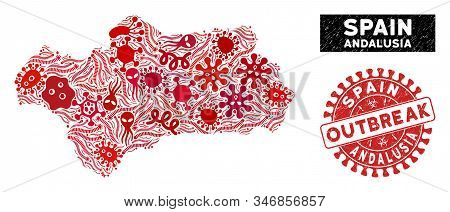 Outbreak Collage Andalusia Province Map And Red Distressed Stamp Watermark With Outbreak Phrase. And