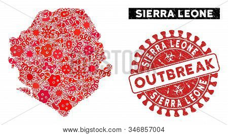 Pandemic Collage Sierra Leone Map And Red Distressed Stamp Watermark With Outbreak Badge. Sierra Leo