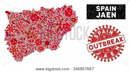 Outbreak Mosaic Jaen Spanish Province Map And Red Rubber Stamp Seal With Outbreak Phrase. Jaen Spani