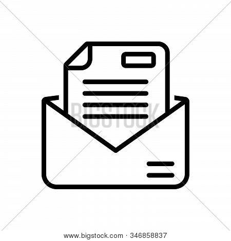 Black Line Icon For Letter Messages Tidings  Text Scenarios  Email Script Document Manuscript Certif