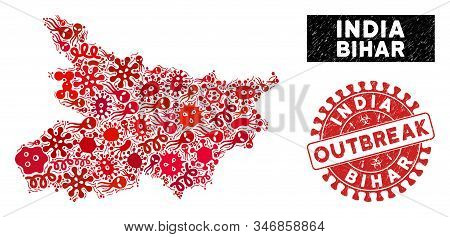 Epidemic Mosaic Bihar State Map And Red Rubber Stamp Seal With Outbreak Caption. Bihar State Map Col