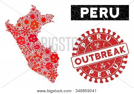 Microbe Mosaic Peru Map And Red Grunge Stamp Watermark With Outbreak Badge. Peru Map Collage Designe