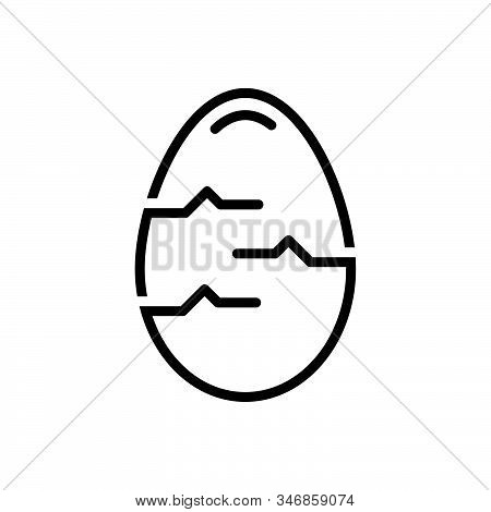 Black Line Icon For Egg Testicle Oval Food Breakfast Ingredient Crack