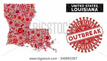 Outbreak Collage Louisiana State Map And Red Distressed Stamp Watermark With Outbreak Message. Louis