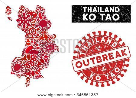 Microbe Collage Ko Tao Map And Red Distressed Stamp Seal With Outbreak Text. Ko Tao Map Collage Cons