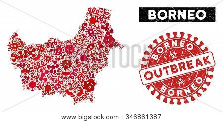 Outbreak Collage Borneo Map And Red Grunge Stamp Seal With Outbreak Words. Borneo Map Collage Formed