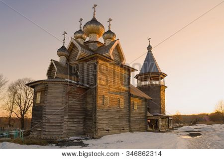 Old Wooden Church Of Dmitry Solunsky Myrrh-streaming Close-up In April Sunset. Leningrad Region, Rus