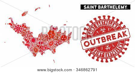 Fever Collage Saint Barthelemy Map And Red Grunge Stamp Seal With Outbreak Text. Saint Barthelemy Ma