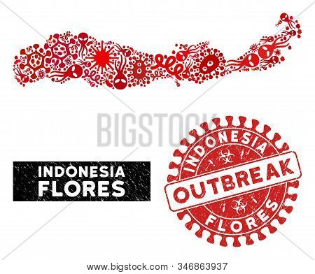Contagion Collage Flores Island Of Indonesia Map And Red Corroded Stamp Watermark With Outbreak Badg