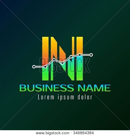 Accounting Logo Template For Finance Business Or Accountant With Alphabetical Letter N And Graphic B