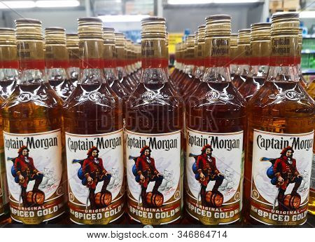 Captain Morgan Rum Was Put Up For Sale In The Metro Ag Hypermarket On January 20, 2020 In Russia, Ka
