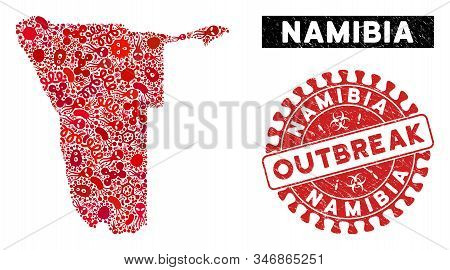 Pandemic Collage Namibia Map And Red Rubber Stamp Watermark With Outbreak Words. Namibia Map Collage