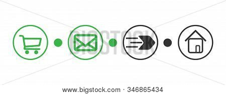 Order Delivery Status, Post Parcel Package Tracking Vector Icons. Order Parcel Processing Bar, Ship,