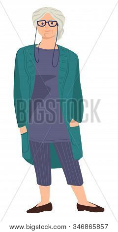 Old Woman With Grey Hair Wearing Eyeglasses And Cardigan