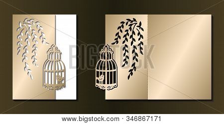 Laser Cut Template Of Wedding Invitation. Fold Card With Cage, Birds, Branch With Leaves. Gold Vecto