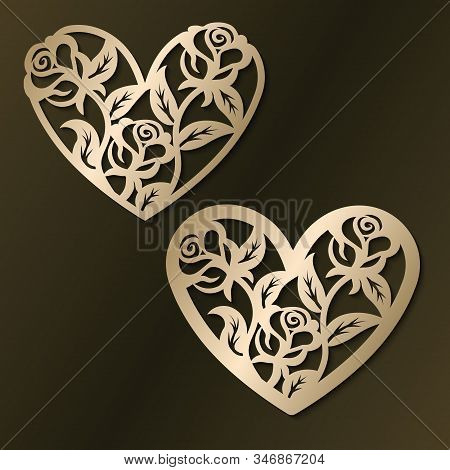 Laser Cut Template Of Flower Hearts. Happy Valentines Day Jewelry Pendant. Openwork Heart With Roses