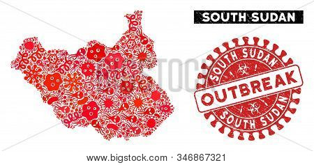 Outbreak Collage South Sudan Map And Red Rubber Stamp Watermark With Outbreak Caption. South Sudan M