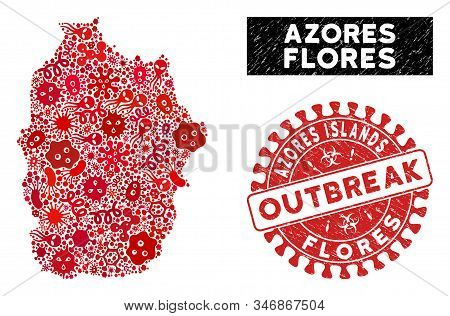 Fever Collage Flores Island Of Azores Map And Red Grunge Stamp Watermark With Outbreak Phrase. Flore