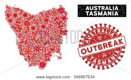 Flu Mosaic Tasmania Island Map And Red Corroded Stamp Seal With Outbreak Message. Tasmania Island Ma