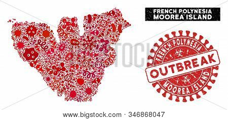 Infection Collage Moorea Island Map And Red Distressed Stamp Watermark With Outbreak Words. Moorea I