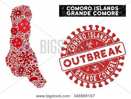 Outbreak Collage Grande Comore Island Map And Red Corroded Stamp Watermark With Outbreak Phrase. Gra