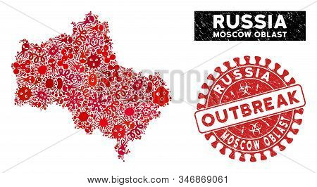 Pandemic Collage Moscow Oblast Map And Red Distressed Stamp Seal With Outbreak Text. Moscow Oblast M