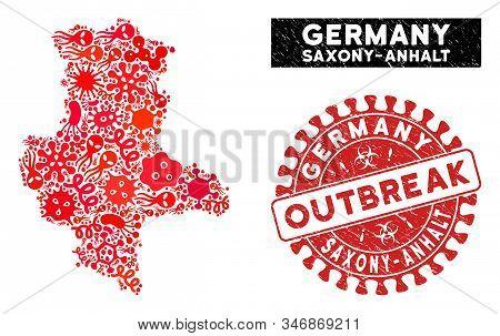 Viral Mosaic Saxony-anhalt Land Map And Red Grunge Stamp Seal With Outbreak Words. Saxony-anhalt Lan