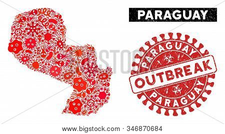 Pathogen Collage Paraguay Map And Red Grunge Stamp Seal With Outbreak Phrase. Paraguay Map Collage F