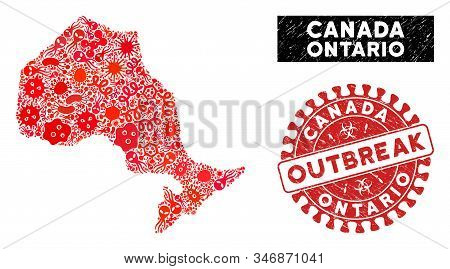 Virus Mosaic Ontario Province Map And Red Corroded Stamp Seal With Outbreak Text. Ontario Province M