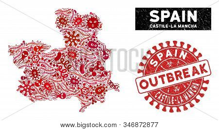 Outbreak Collage Castile-la Mancha Province Map And Red Distressed Stamp Watermark With Outbreak Phr
