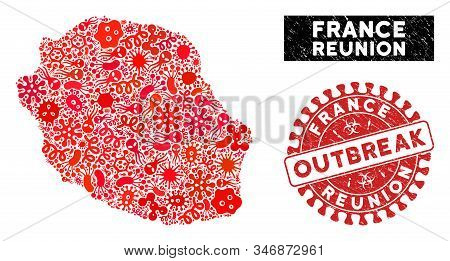 Infection Collage Reunion Island Map And Red Distressed Stamp Watermark With Outbreak Badge. Reunion