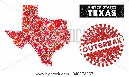 Microbe Collage Texas Map And Red Rubber Stamp Seal With Outbreak Message. Texas Map Collage Designe