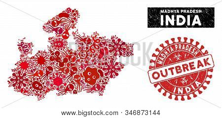 Biohazard Mosaic Madhya Pradesh State Map And Red Distressed Stamp Seal With Outbreak Words. Madhya
