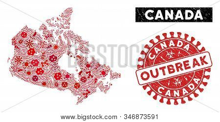 Contagion Collage Canada Map And Red Distressed Stamp Watermark With Outbreak Badge. Canada Map Coll