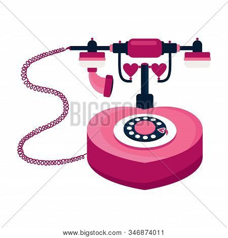 Valentines Day Concept. Pink Retro Heart Shaped Telephone With Wire. Isolated Object On A White Back