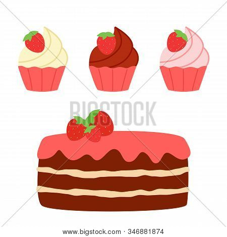 Sweet Chocolate Cake And Cupcakes With Strawberries. Set Of Sweets With Vanilla, Strawberry And Choc