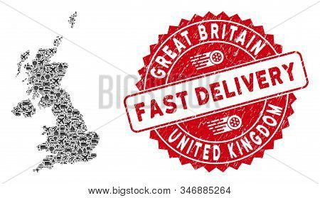 Travel Mosaic United Kingdom Map And Grunge Stamp Seal With Fast Delivery Phrase. United Kingdom Map