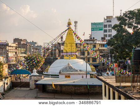 KATHMANDU, NEPAL - CIRCA OCTOBER 2018: Chabahil Stupa also known as Dhanya Stupa is the fourth largest stupa in Kathmandu.