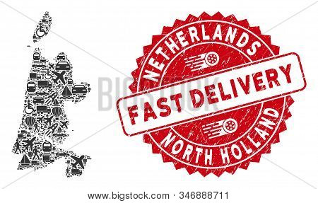 Travel Collage North Holland Map And Rubber Stamp Watermark With Fast Delivery Phrase. North Holland