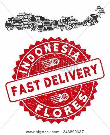 Transportation Collage Flores Island Of Indonesia Map And Rubber Stamp Watermark With Fast Delivery