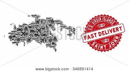 Transport Mosaic Saint John Island Map And Corroded Stamp Seal With Fast Delivery Words. Saint John
