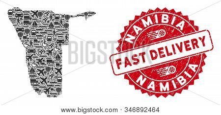 Delivery Mosaic Namibia Map And Corroded Stamp Watermark With Fast Delivery Phrase. Namibia Map Coll