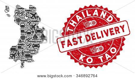 Transport Mosaic Ko Tao Map And Grunge Stamp Seal With Fast Delivery Phrase. Ko Tao Map Collage Form
