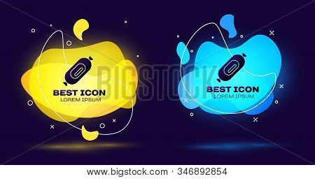 Black Salami Sausage Icon Isolated On Blue Background. Meat Delicatessen Product. Set Abstract Banne