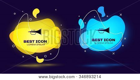 Black Musical Instrument Trumpet Icon Isolated On Blue Background. Set Abstract Banner With Liquid S