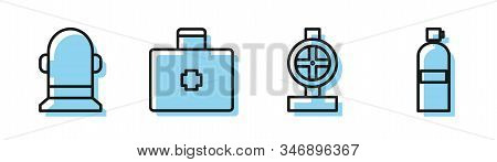 Set Line Industry Metallic Pipes And Valve, Buoy, First Aid Kit And Aqualung Icon. Vector