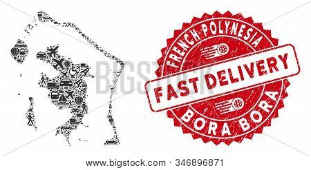 Travel Collage Bora-bora Map And Rubber Stamp Watermark With Fast Delivery Message. Bora-bora Map Co
