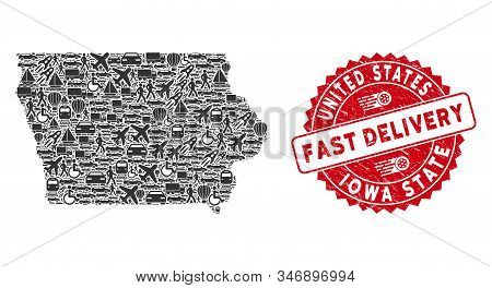 Deliver Mosaic Iowa State Map And Corroded Stamp Seal With Fast Delivery Words. Iowa State Map Colla