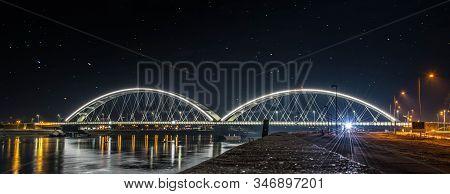 Žeželj Bridge Is A Tied-arch Bridge On Danube River In Novi Sad, Vojvodina, Serbia. The Bridge Was O